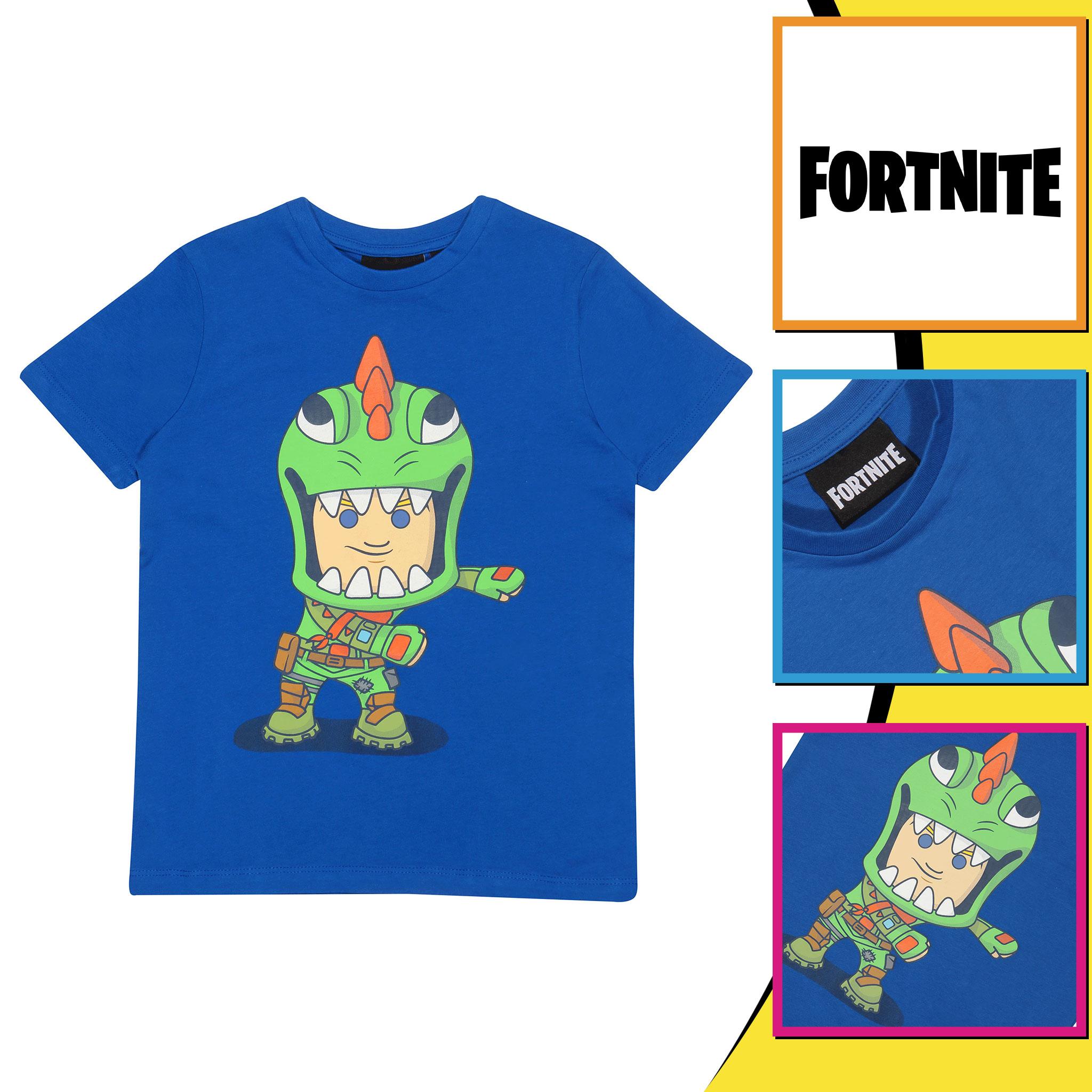 miniature 9 - Boys Fortnite T Shirt Flossing Rex Official Blue