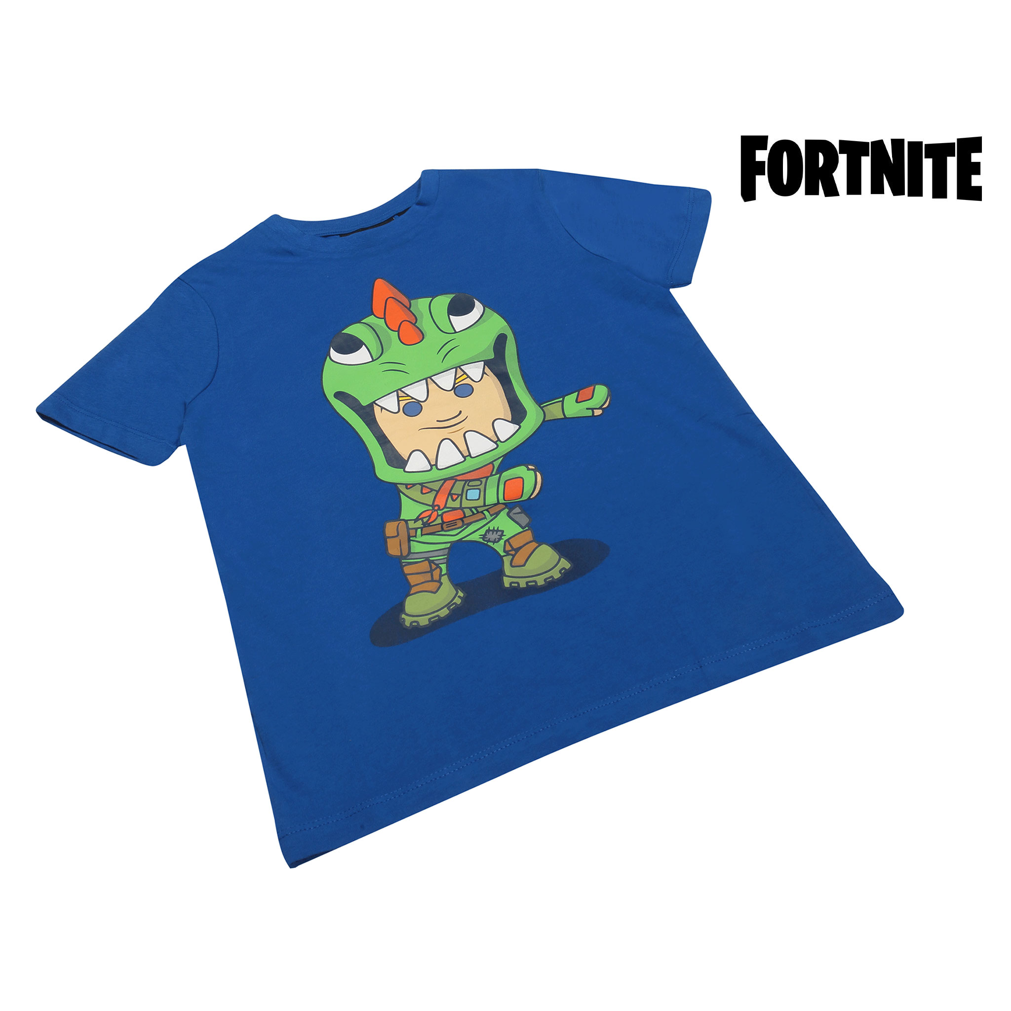miniature 8 - Boys Fortnite T Shirt Flossing Rex Official Blue