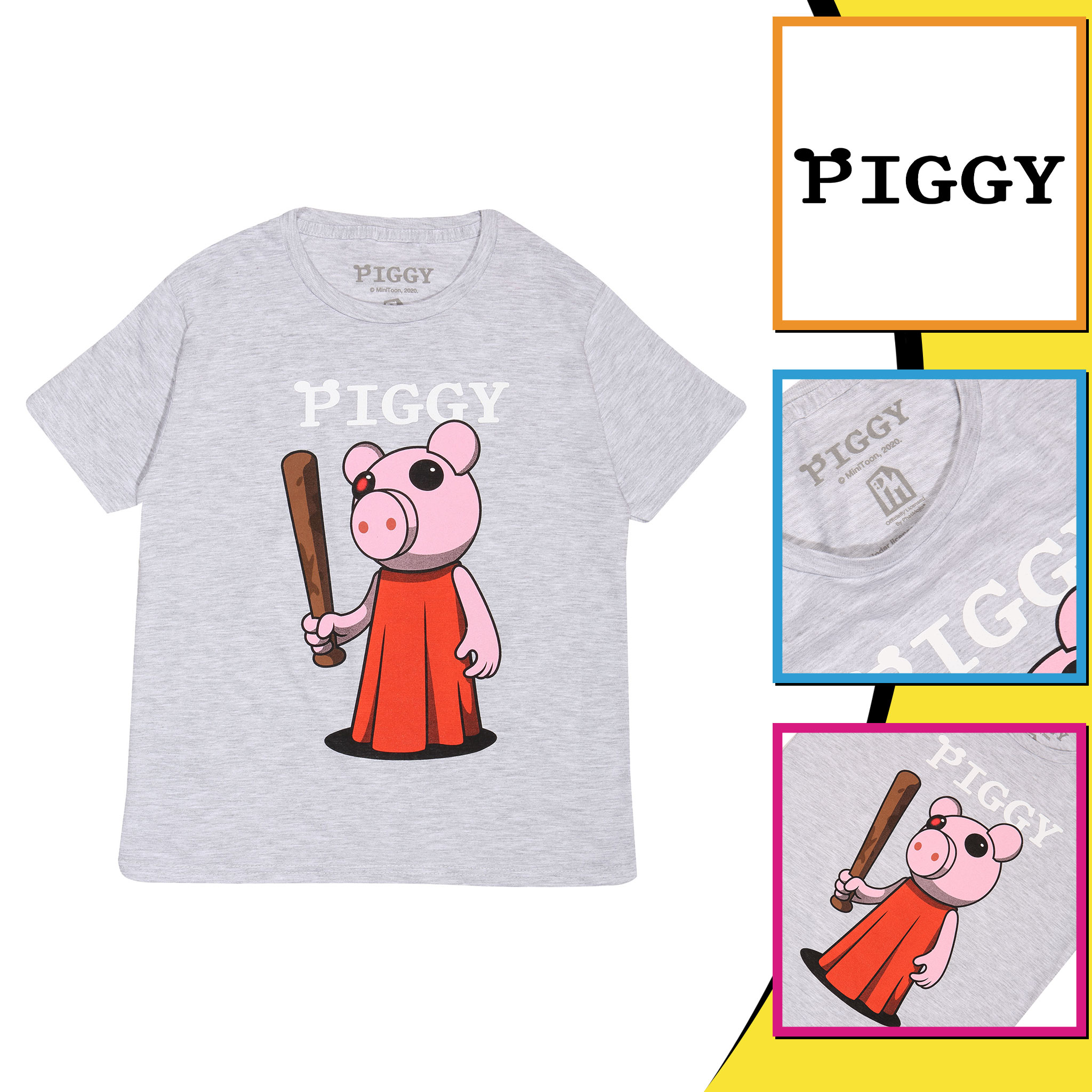 miniature 13 - Boys Piggy T Shirt Baseball Bat Official