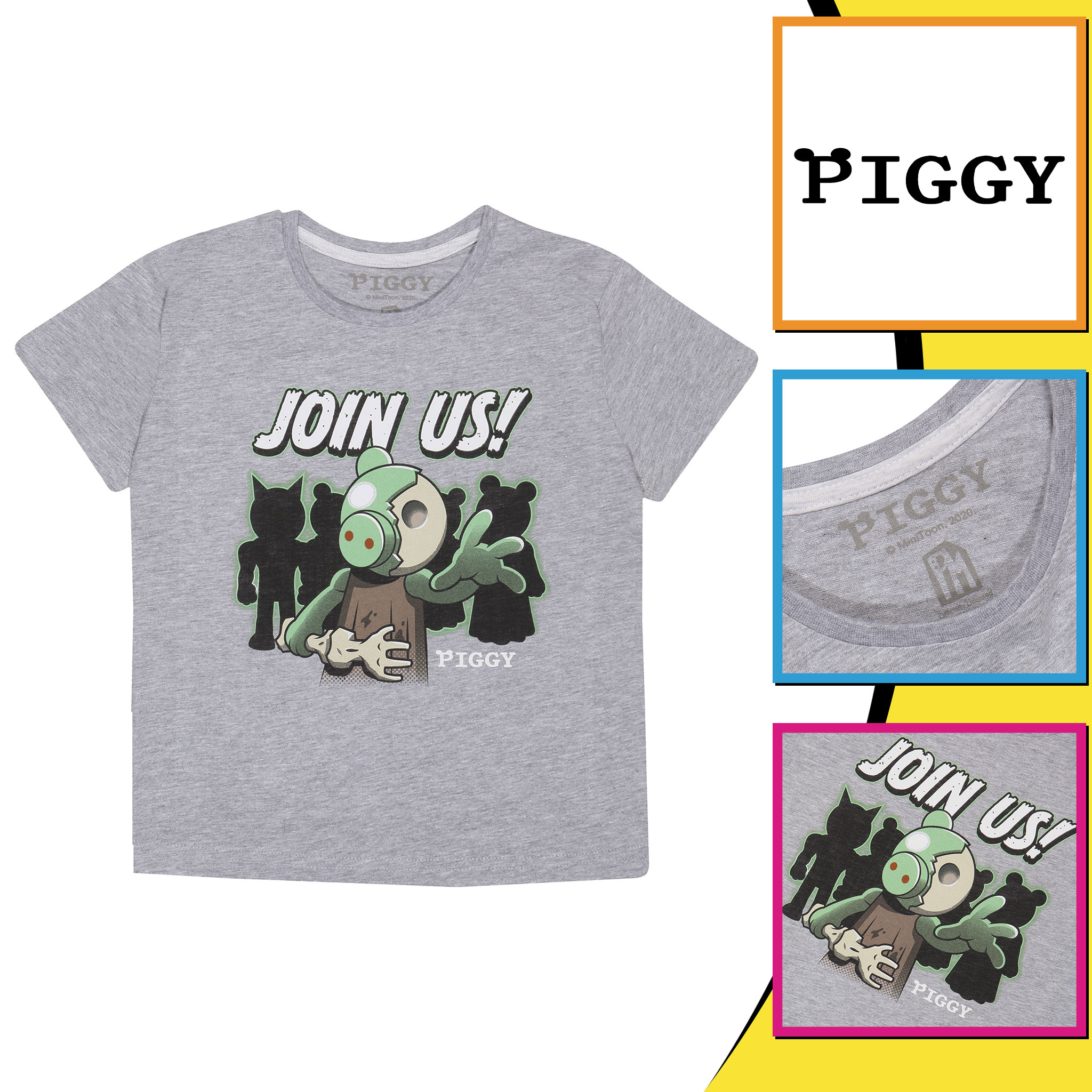 miniature 13 - Boys Piggy T Shirt Zombie Join Us Official Grey