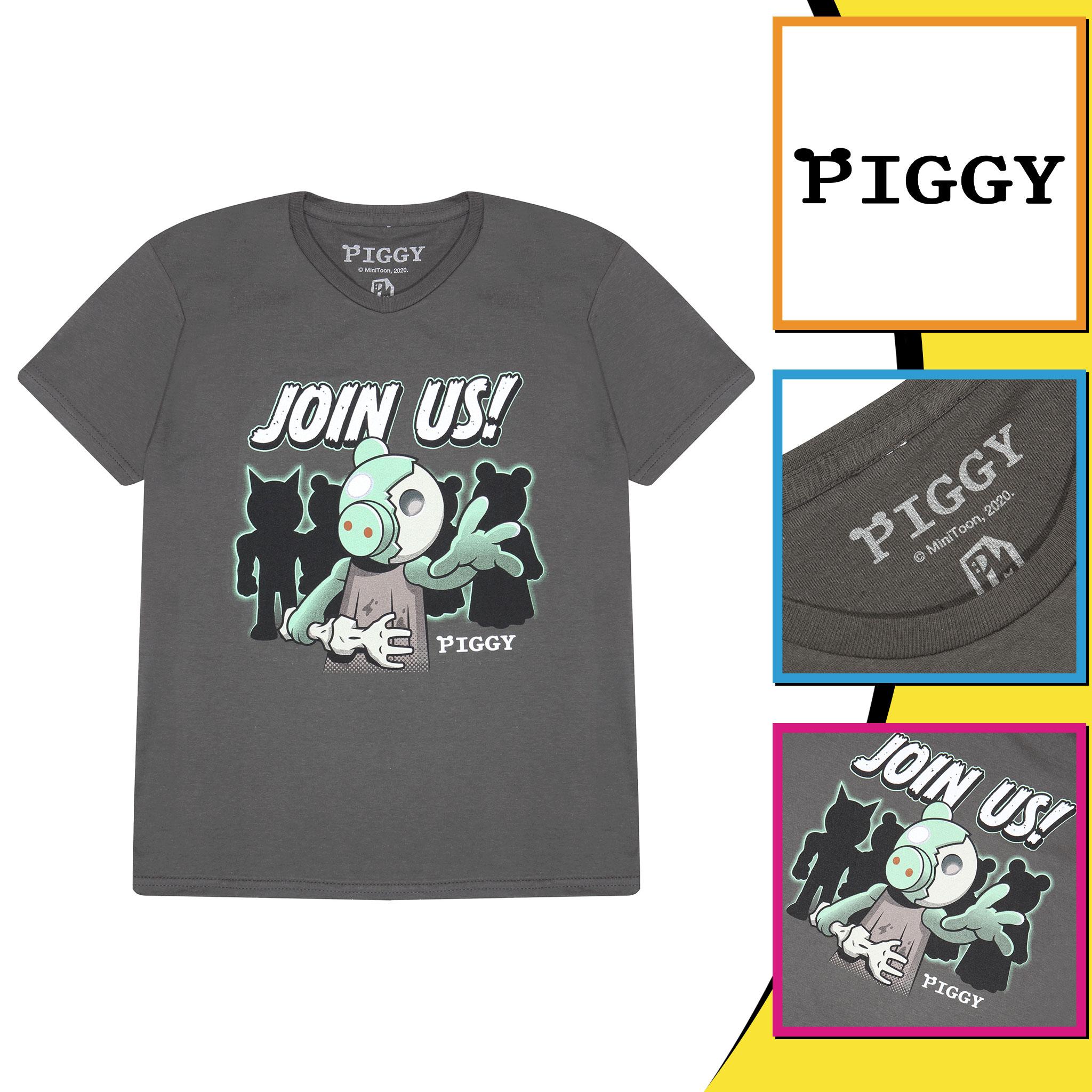 miniature 8 - Boys Piggy T Shirt Zombie Join Us Official Grey